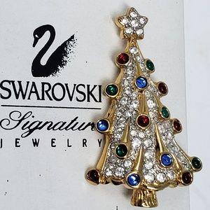 Authentic Swarovski Christmas tree brooch pin